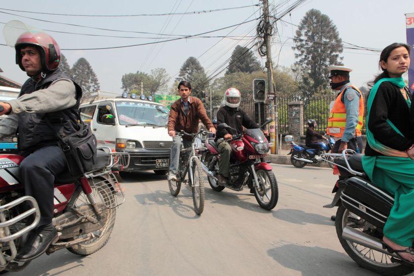In a taxi, Kathmandu